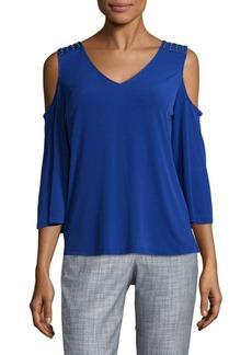 Calvin Klein Studded Cold-Shoulder Top