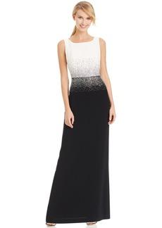 Calvin Klein Studded Colorblocked Evening Dress