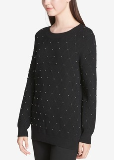 Calvin Klein Studded Diamond-Stitch Sweater