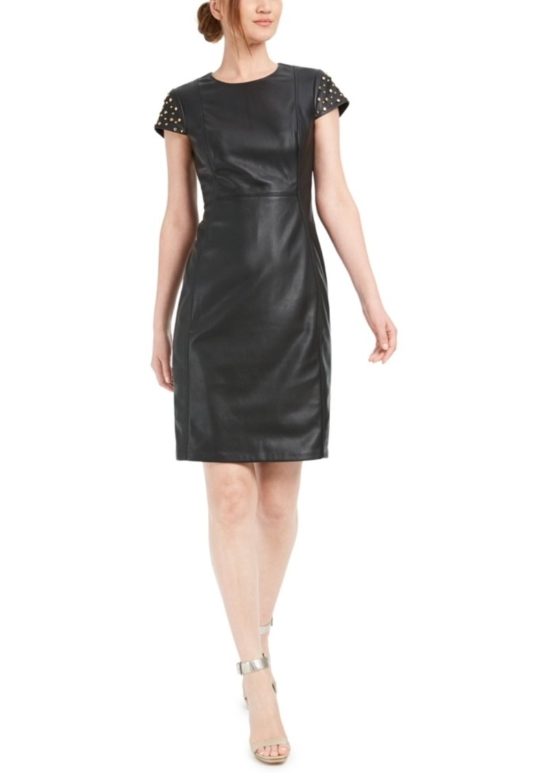 Calvin Klein Studded Faux-Leather Sheath Dress
