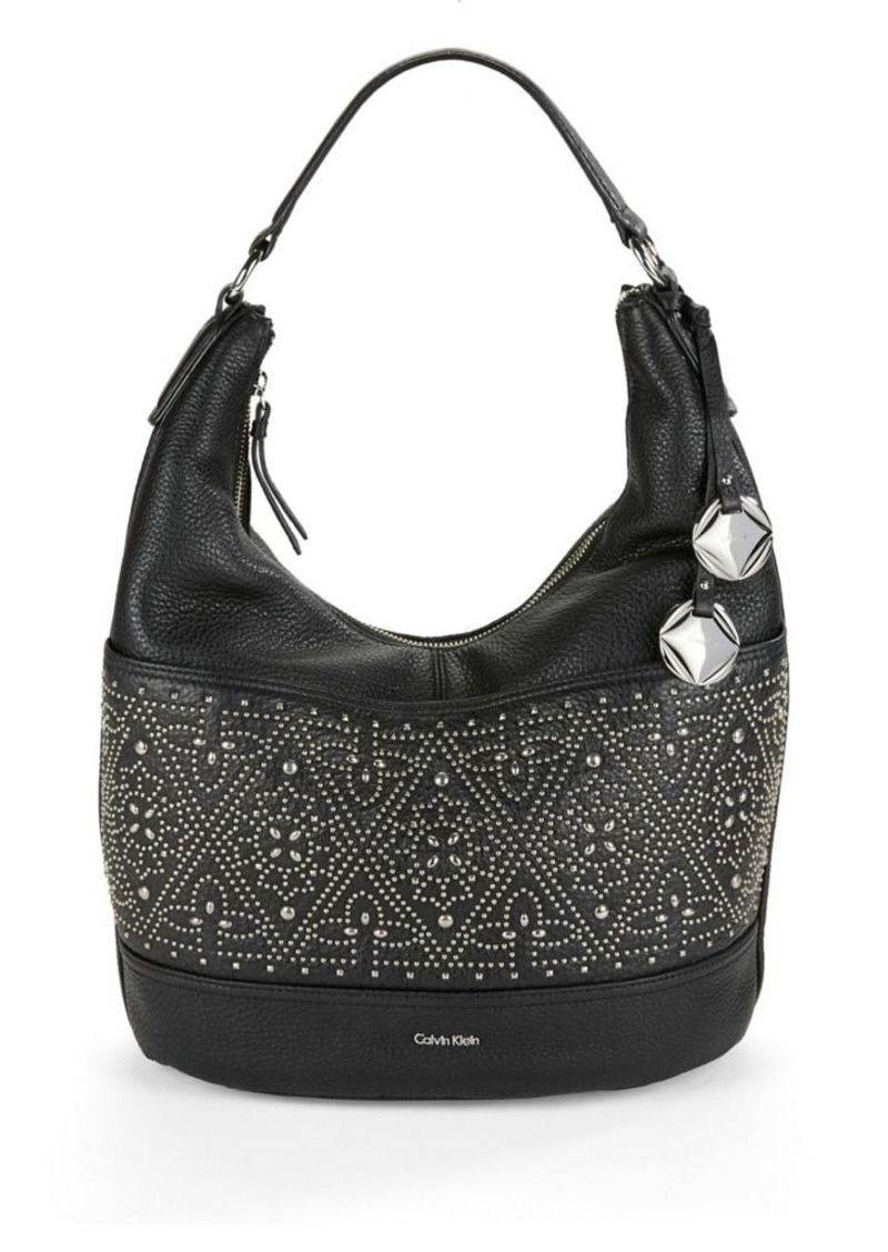 Calvin Klein Studded Leather Hobo Bag