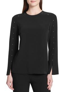 Calvin Klein Studded Long-Sleeve Blouse