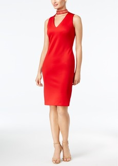 Calvin Klein Studded Mock-Neck Sheath Dress