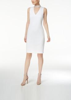 Calvin Klein Studded Mock-Neck Sheath Dress