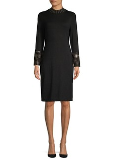 Calvin Klein Studded Mockneck Sheath Dress