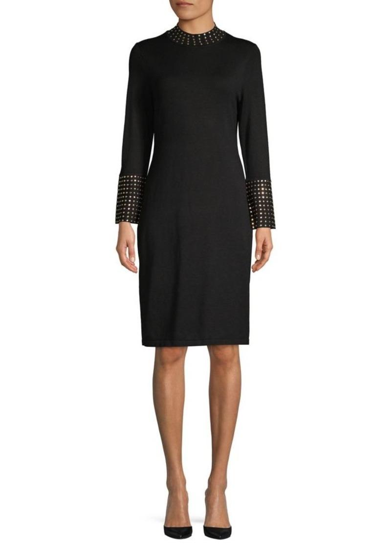 Calvin Klein Studded Mockneck Sheath Dress