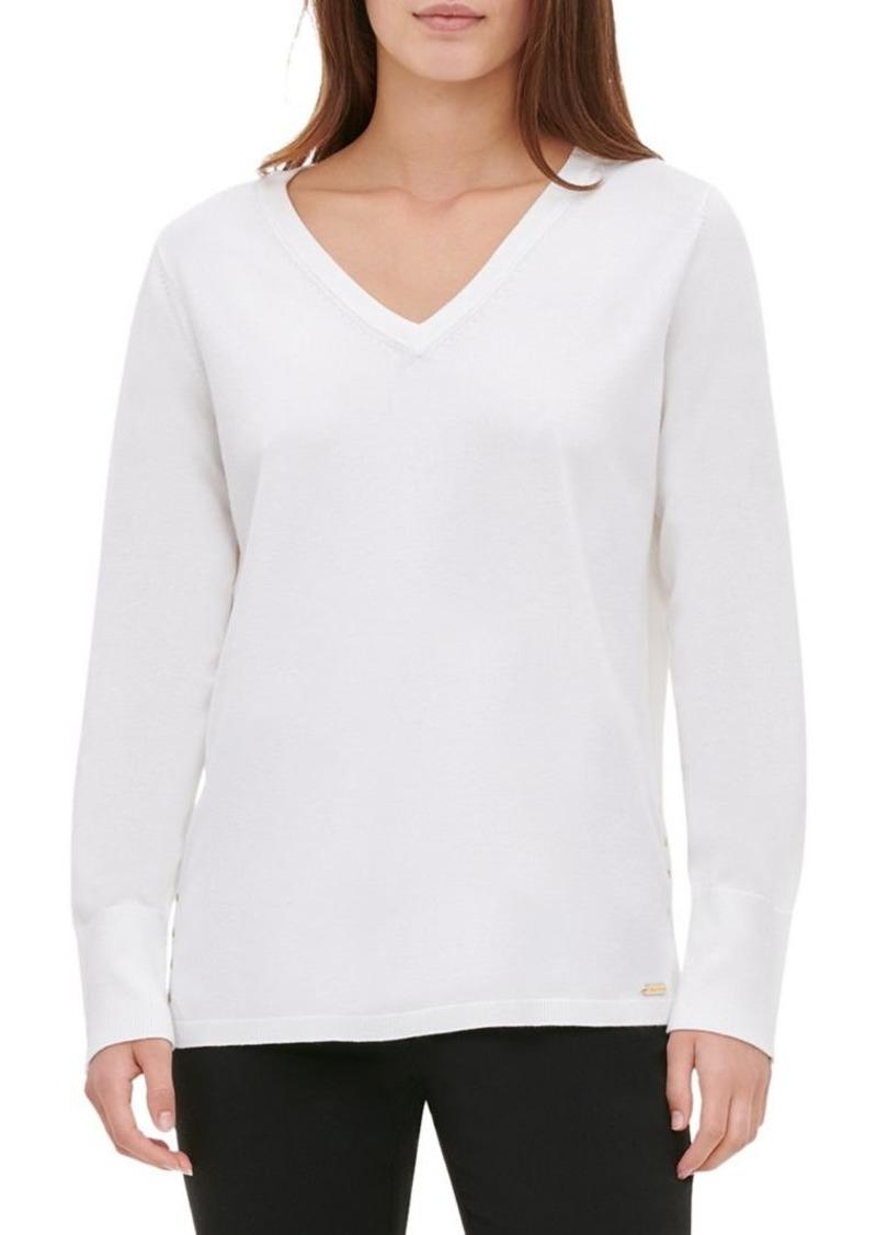 Calvin Klein Studded Side-Seam Sweater