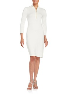 CALVIN KLEIN Studded Zip-Front Sweater Dress