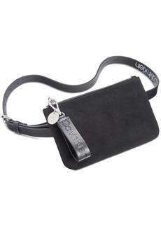 Calvin Klein Suede Belt Bag With Logo Zipper Pull
