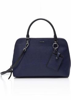 Calvin Klein womens Calvin Klein Susan Saffiano Leather Dome Satchel with Card Case Hanger black plum