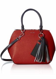 Calvin Klein womens Calvin Klein Susan Saffiano Leather Satchel with Card Case Hanger red/silver metallic