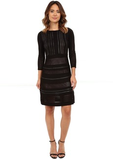Calvin Klein Sweater Dress Faux Leather Piping