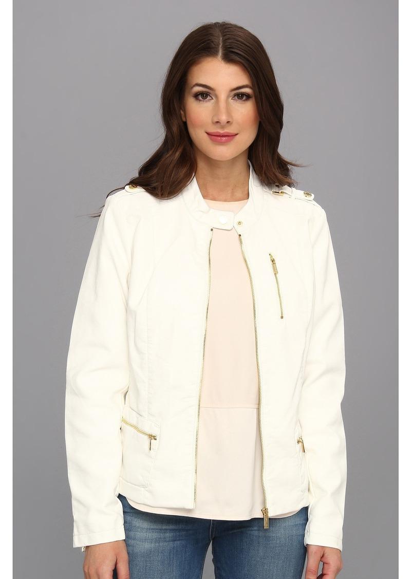 Calvin Klein Tab Cuff Polyurethane Faux Leather Jacket