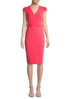 Calvin Klein Tabbed Cap-Sleeve Sheath Dress