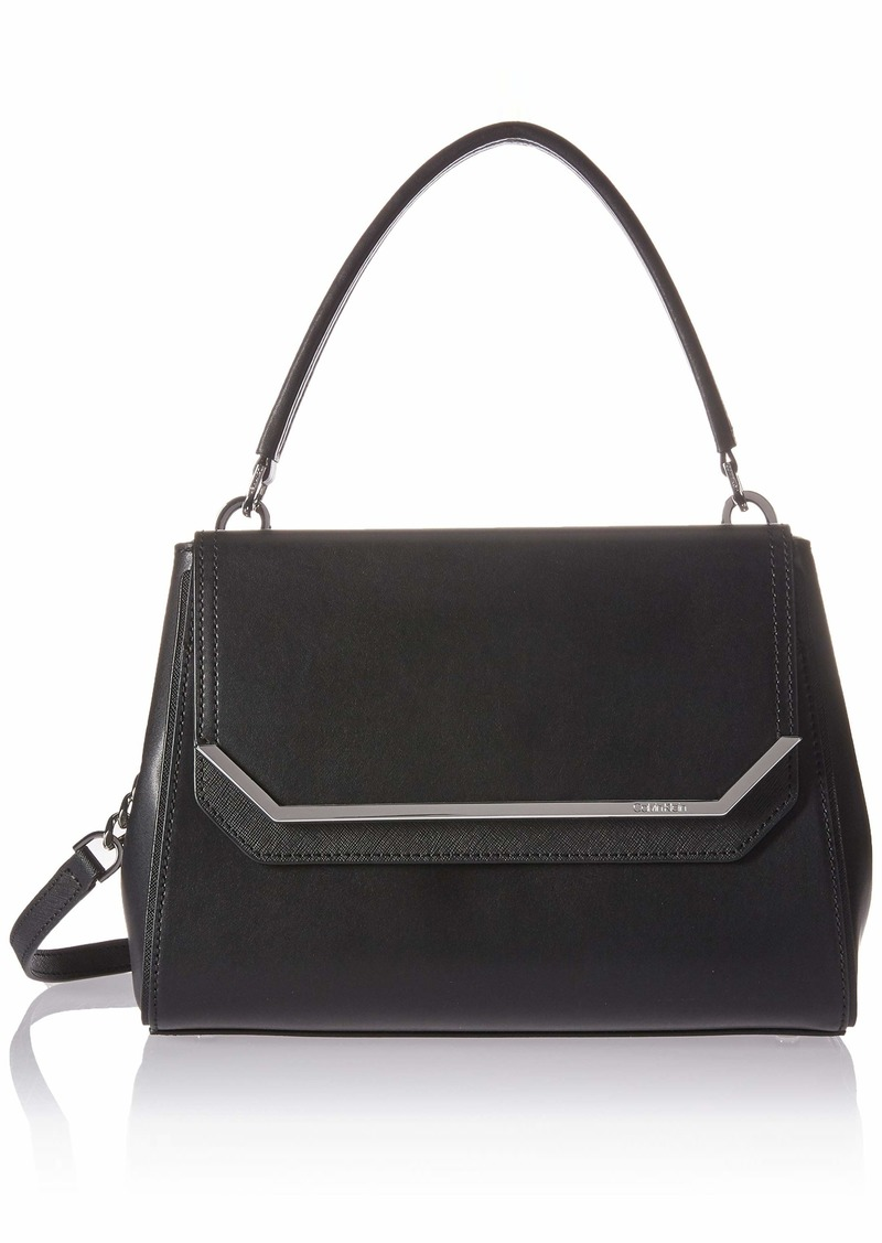 Calvin Klein Tessie Calf Split Leather Top Handle Flap Over Satchel black/silver