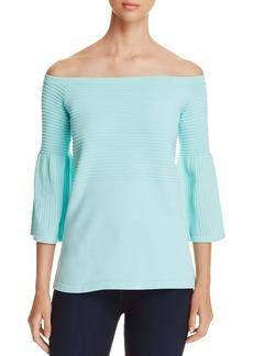 Calvin Klein Textured Convertible Bell-Sleeve Top