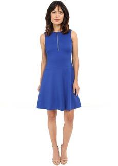 Calvin Klein Textured Flare Dress w/ Front Zip