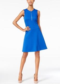 Calvin Klein Textured Half-Zip Fit & Flare Dress
