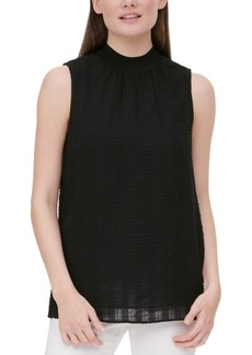 Calvin Klein Textured Mock-Neck Top
