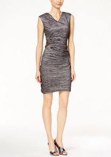 Calvin Klein Textured Side-Broach Sheath Dress
