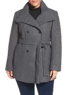 Calvin Klein Textured Trench Coat (Plus Size)