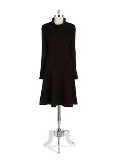 CALVIN KLEIN Textured Turtlneck Sweater Dress