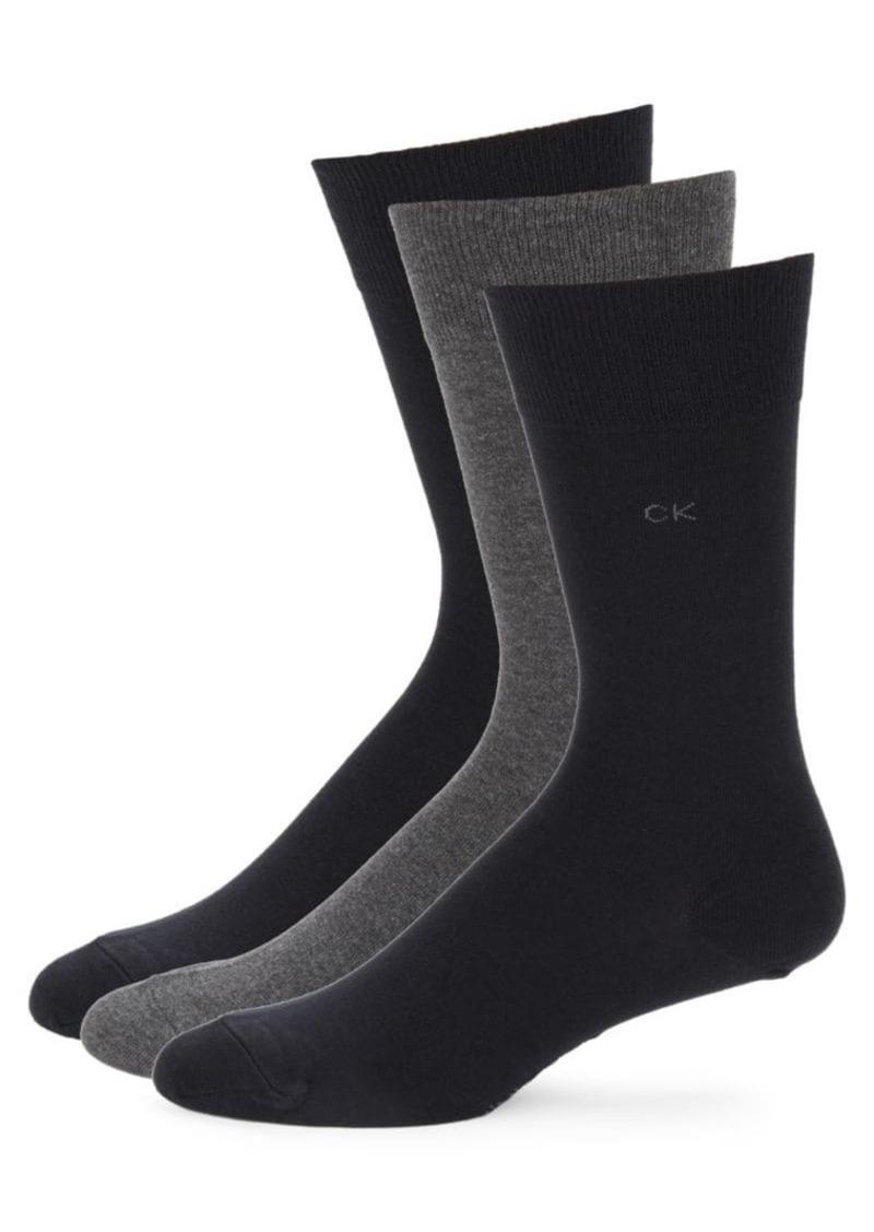 Calvin Klein 3-Pair Combed Flat Knit Socks