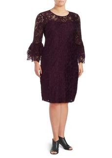 Calvin Klein Three-Quarter Bell Sleeve Lace Dress