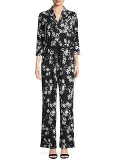 Calvin Klein Three-Quarter Floral Tie Waist Jumpsuit