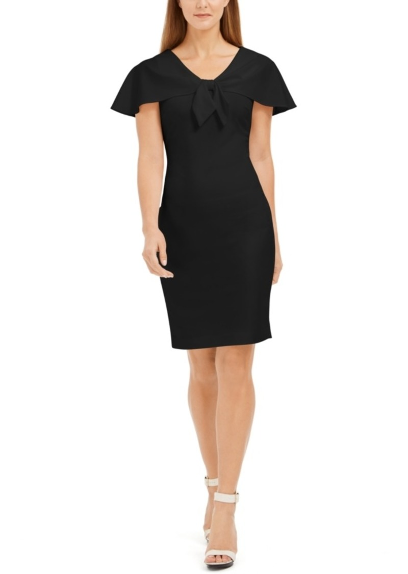 Calvin Klein Tie-Front Capelet Sheath Dress