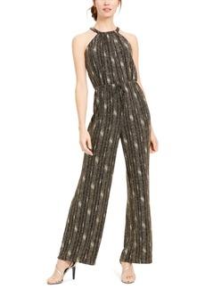 Calvin Klein Tie-Front Glitter Jumpsuit