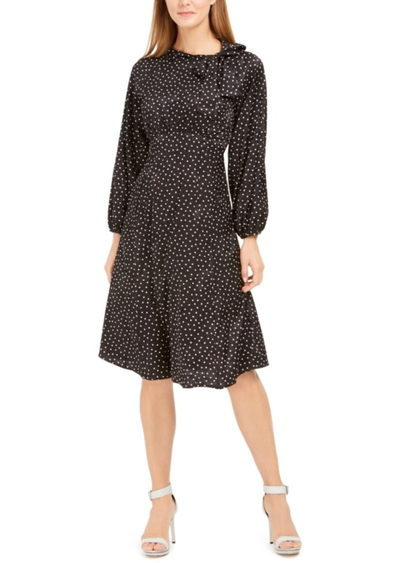 Calvin Klein Tie-Neck Polka Dot Jacquard Dress