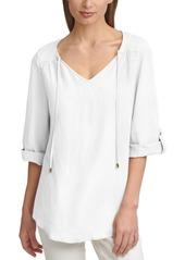 Calvin Klein Tie-Neck Roll-Sleeve Linen Top