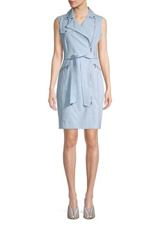 Calvin Klein Tied Moto Zip Sheath Dress