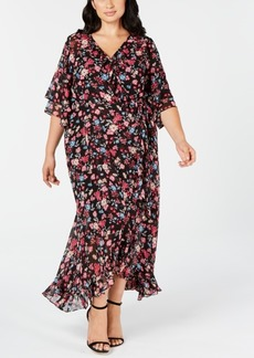 Calvin Klein Trendy Plus Size Faux-Wrap Maxi Dress