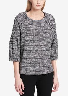 Calvin Klein Tweed Bell-Sleeve Top