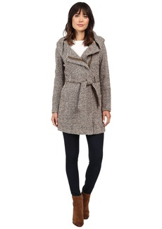 Calvin Klein Tweed Belted Wool with Oversize Hood Collar