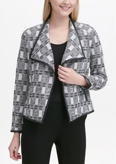 Calvin Klein Tweed Jacket With Faux-Leather Trim