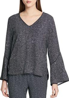 Calvin Klein Tweed-Print Bell-Sleeve Top