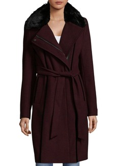 Calvin Klein Twill Belted Faux Fur-Trim Collared Coat