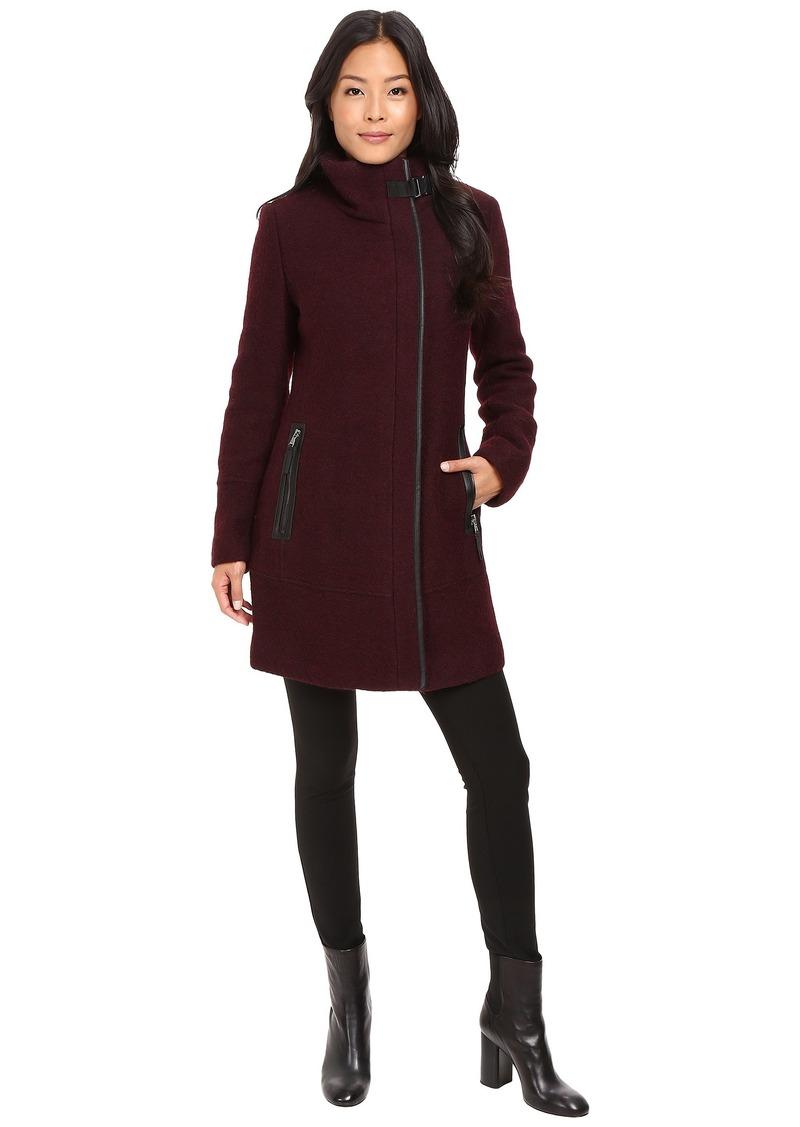 82b487f00f1 Calvin Klein Calvin Klein Twill Wool Coat w/ PU Trim & Buckle Collar ...