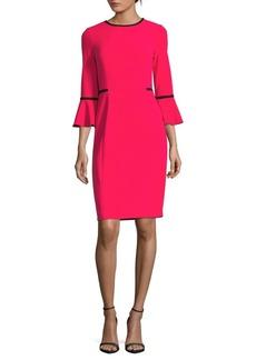 Calvin Klein Two-Tone Bell-Sleeve Sheath Dress
