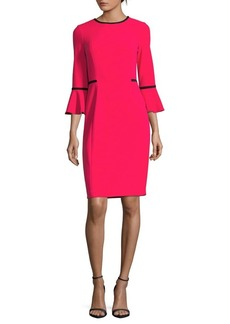 Calvin Klein Two-Tone Bell-Sleeve Sheath Dress