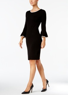 Calvin Klein Two-Tone Bell-Sleeve Sweater Dress