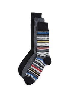 Calvin Klein Underwear 3 Pack Solid & Stripe Crew Socks