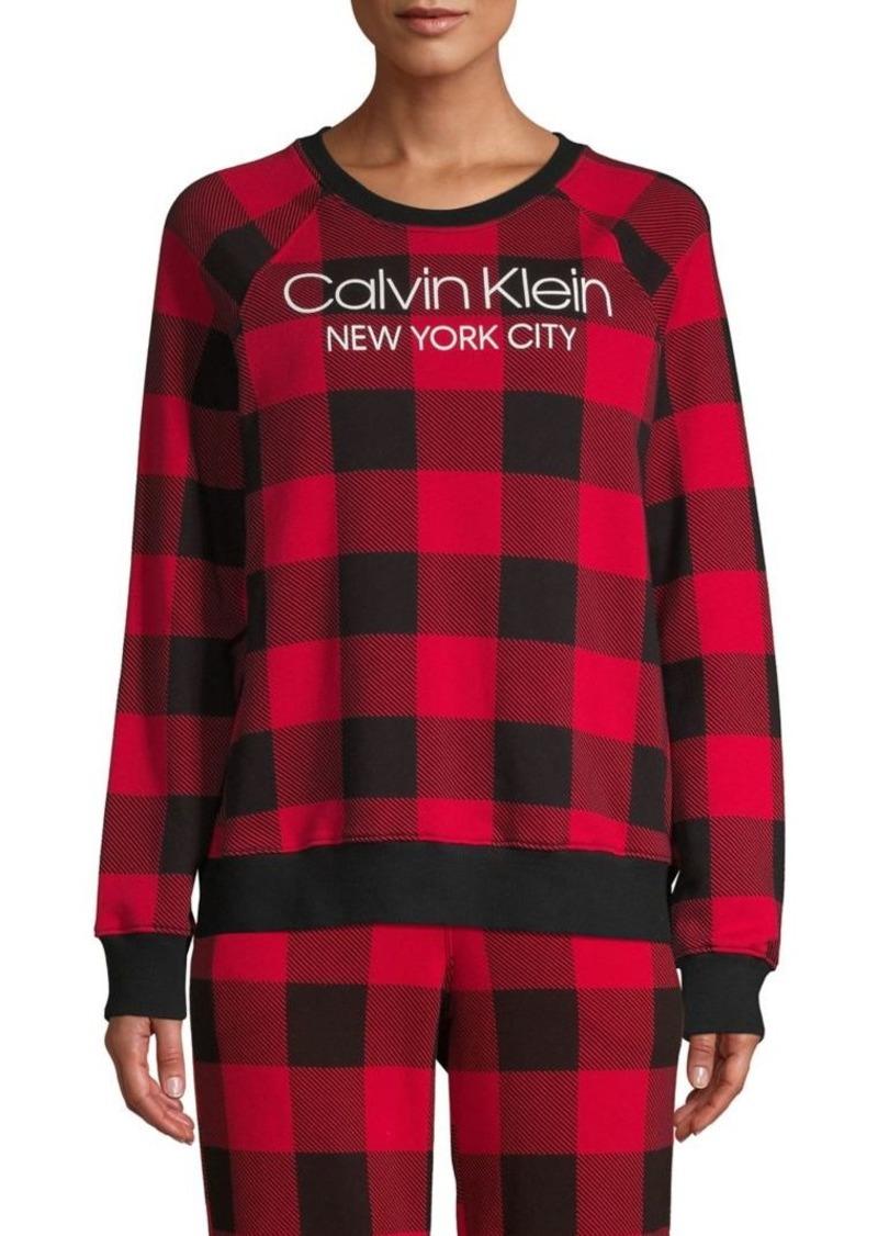 Calvin Klein Underwear Modern Lounge Checkered Cotton-Blend Pajama Top