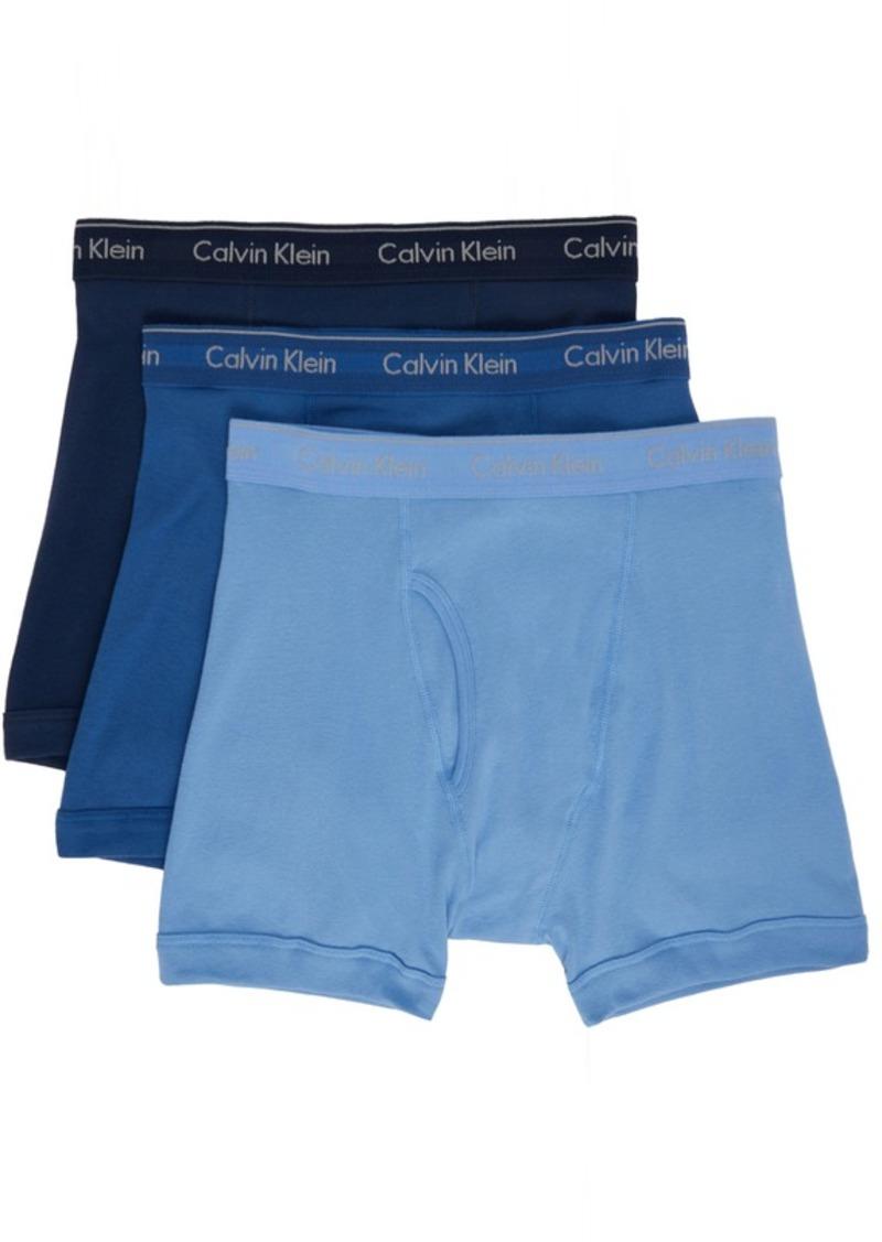 Calvin Klein Underwear Three-Pack Blue Classic Fit Boxer Briefs