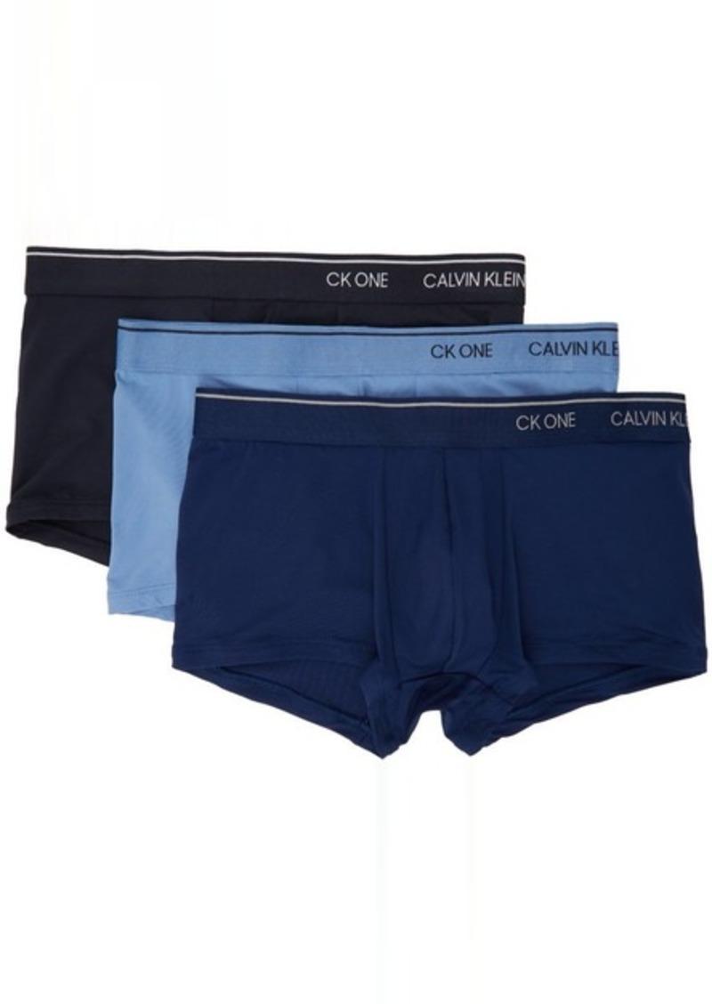 Calvin Klein Underwear Three-Pack Blue Microfiber 'CK ONE' Trunk Boxers