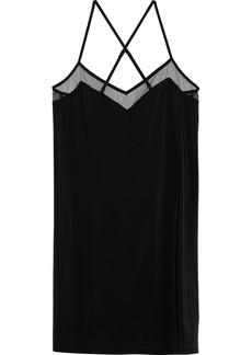 Calvin Klein Underwear Woman Mesh-trimmed Stretch-jersey Chemise Black