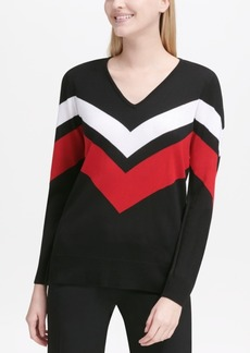 Calvin Klein V-Neck Chevron Sweater